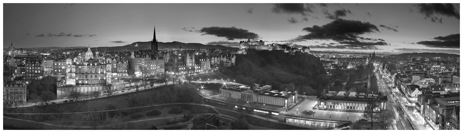 Edinburgh Skyline, Print 24 in Black and White