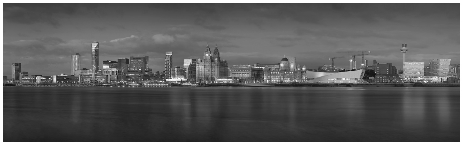 Liverpool Skyline, Print 25 in Black and White