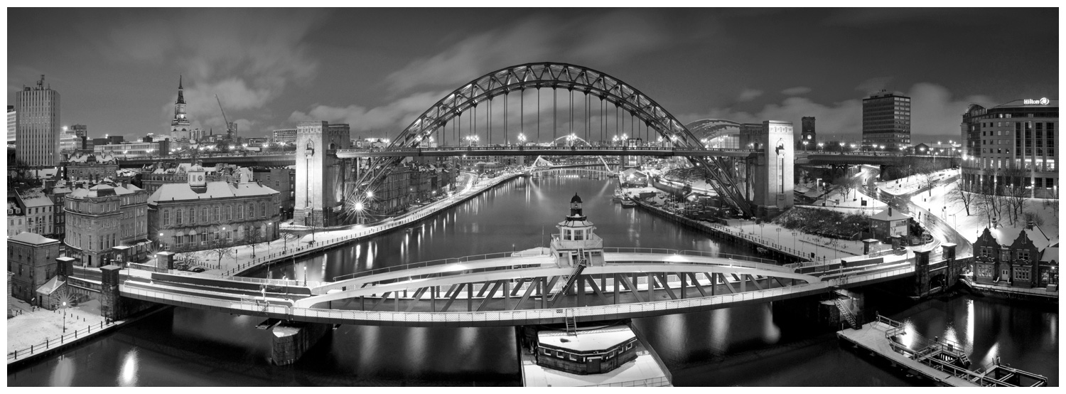 Newcastle Bridges in Snow, print 17 in Black and White