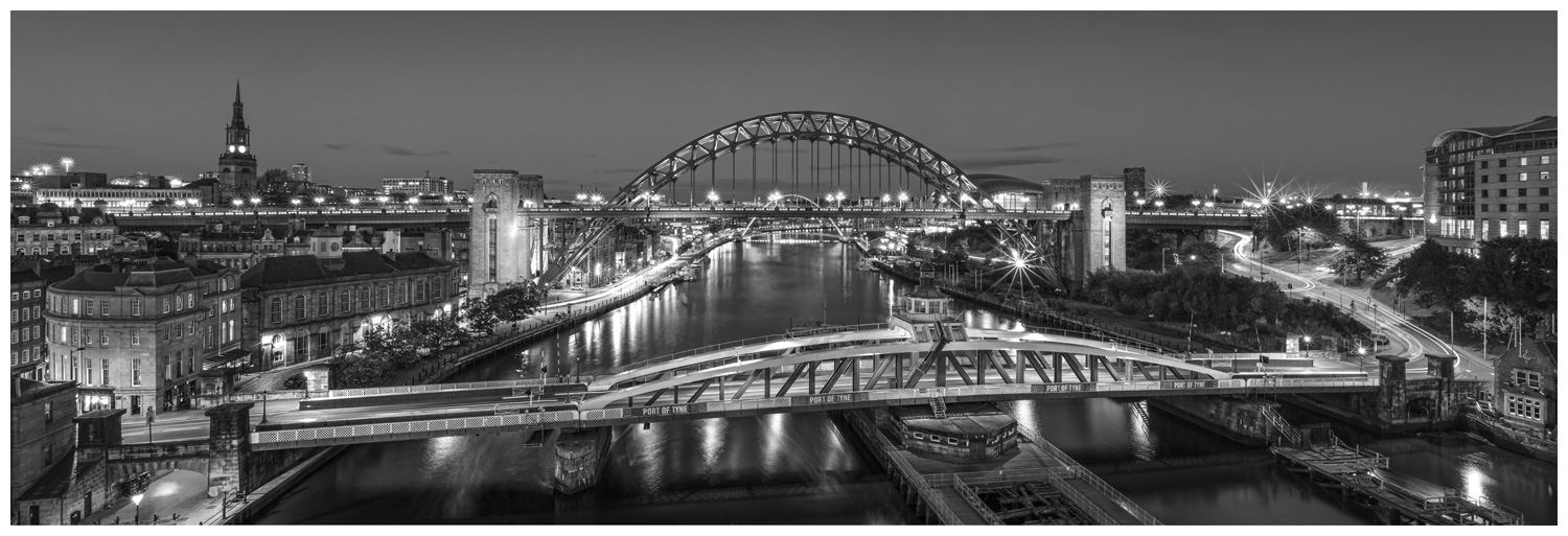 Newcastle Bridges, Print 57 in Black and White