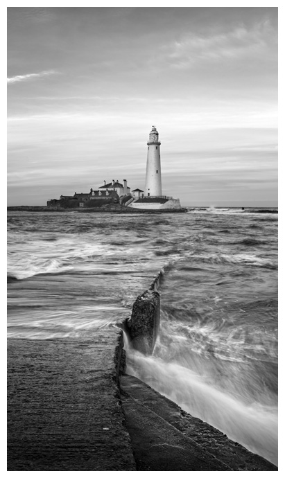 St Marys Lighthouse Sunrise, Print 54 in Black and White