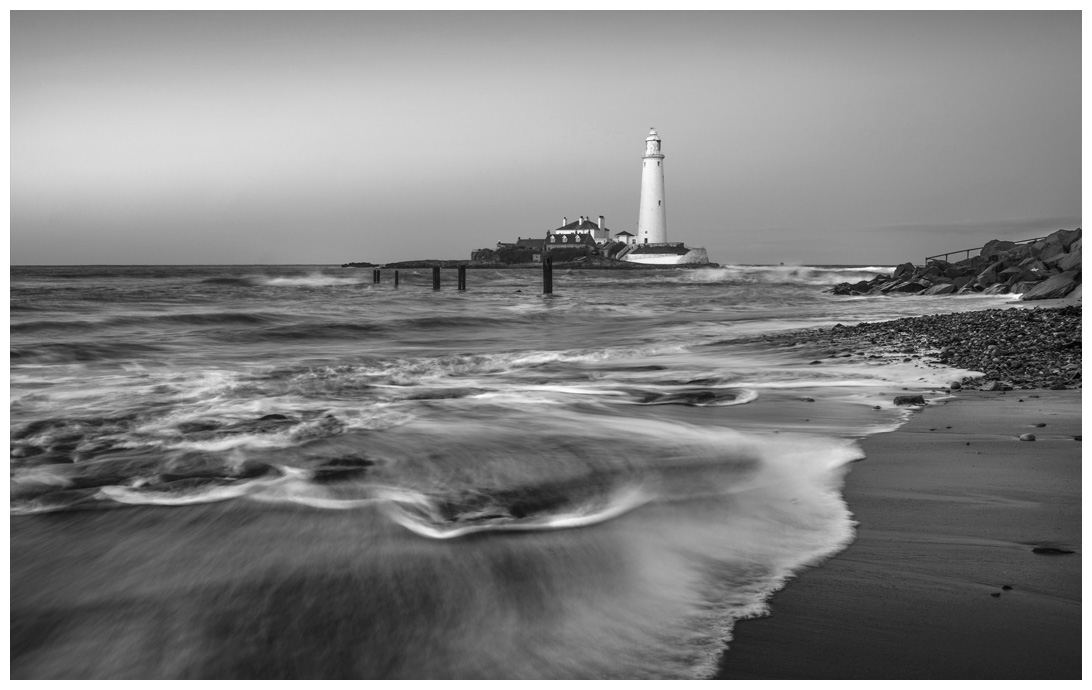 St Marys Lighthouse, Print 55 in Black and White